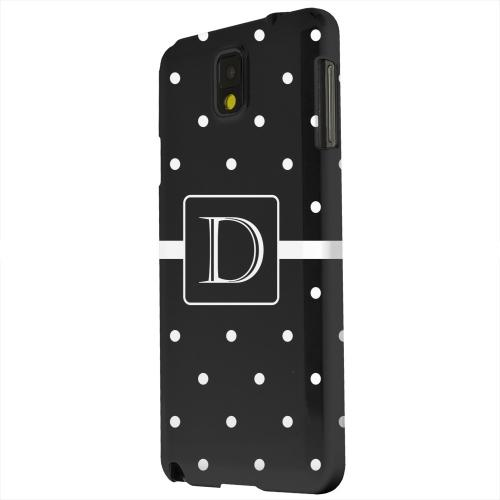 Geeks Designer Line (GDL) Samsung Galaxy Note 3 Matte Hard Back Cover - Monogram D on Classic Mini Polka Dots