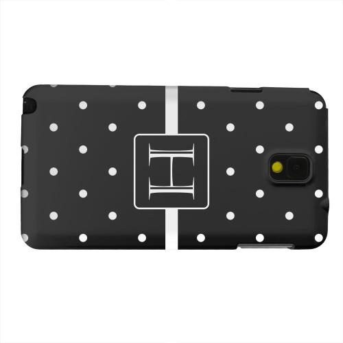 Geeks Designer Line (GDL) Samsung Galaxy Note 3 Matte Hard Back Cover - Monogram H on Classic Mini Polka Dots