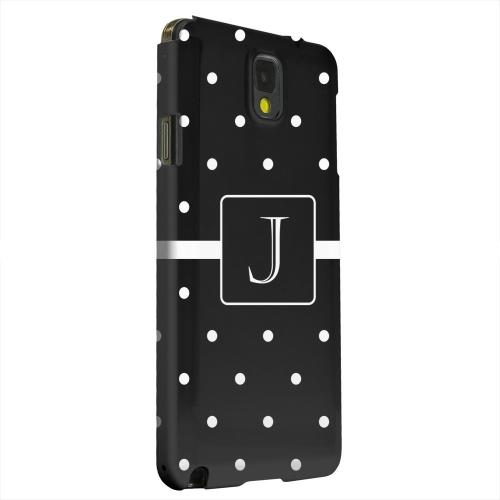 Geeks Designer Line (GDL) Samsung Galaxy Note 3 Matte Hard Back Cover - Monogram J on Classic Mini Polka Dots