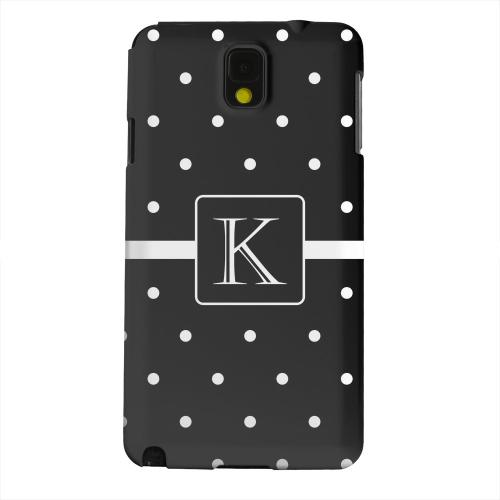 Geeks Designer Line (GDL) Samsung Galaxy Note 3 Matte Hard Back Cover - Monogram K on Classic Mini Polka Dots