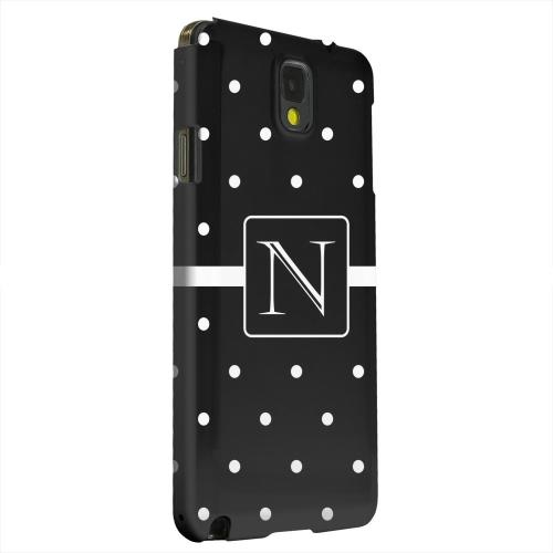 Geeks Designer Line (GDL) Samsung Galaxy Note 3 Matte Hard Back Cover - Monogram N on Classic Mini Polka Dots