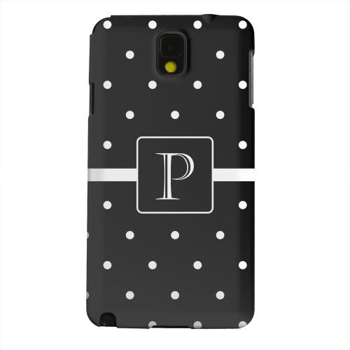 Geeks Designer Line (GDL) Samsung Galaxy Note 3 Matte Hard Back Cover - Monogram P on Classic Mini Polka Dots