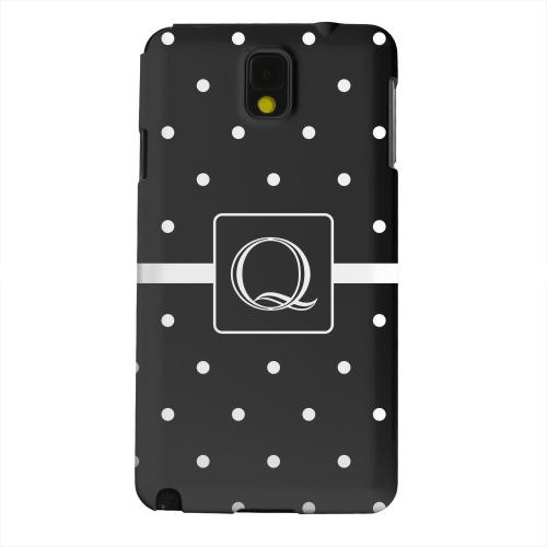 Geeks Designer Line (GDL) Samsung Galaxy Note 3 Matte Hard Back Cover - Monogram Q on Classic Mini Polka Dots