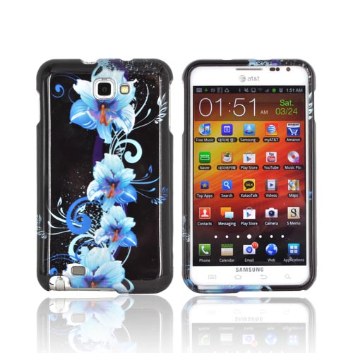 Samsung Galaxy Note Hard Case Cover - Blue Flowers on Black