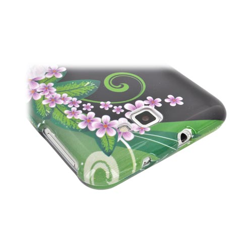 Samsung Galaxy Note Hard Case - Pink/ Purple Flower on Black