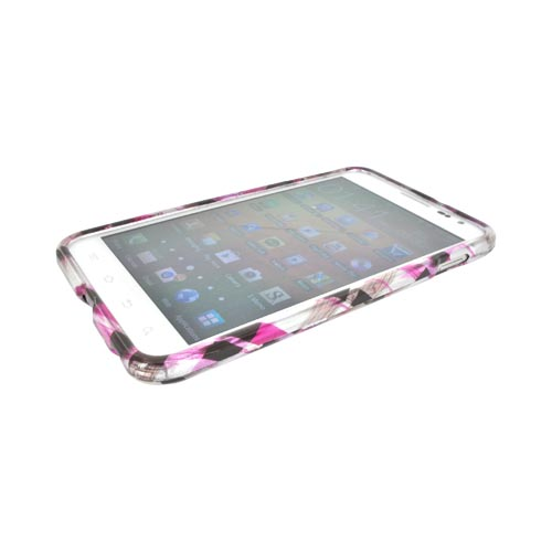 Samsung Galaxy Note Hard Case - Plaid Pattern of Pink, Hot Pink, Brown, & Silver