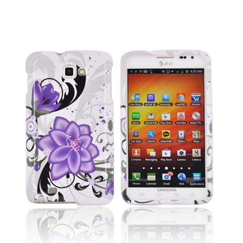 Samsung Galaxy Note Hard Case - Purple Lily on White