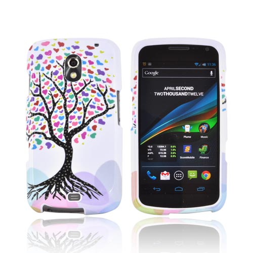 Samsung Galaxy Nexus Hard Case - Black Tree w/ Multi-Colored Hearts on White