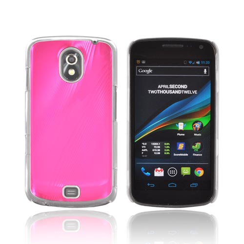 Samsung Galaxy Nexus Hard Back Case w/ Aluminum Back & Clear Bumper - Hot Pink
