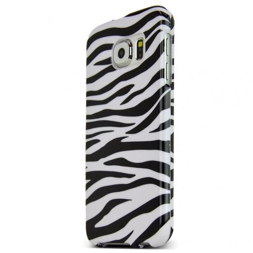 Samsung Galaxy S6 Case,  [White Zebra]  Slim & Protective Crystal Glossy Snap-on Hard Polycarbonate Plastic Case Cover