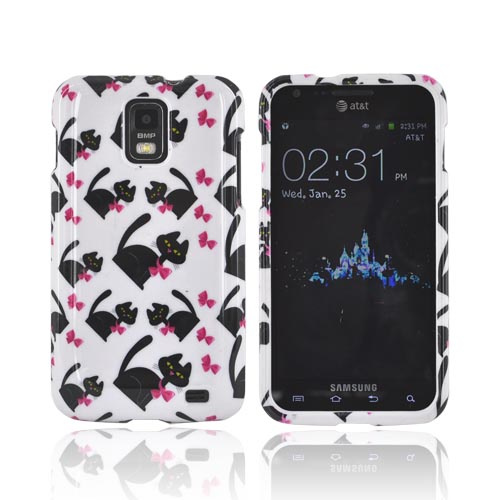 Samsung Galaxy S2 Skyrocket Hard Case - Black Cats w/ Hot Pink Bows on White