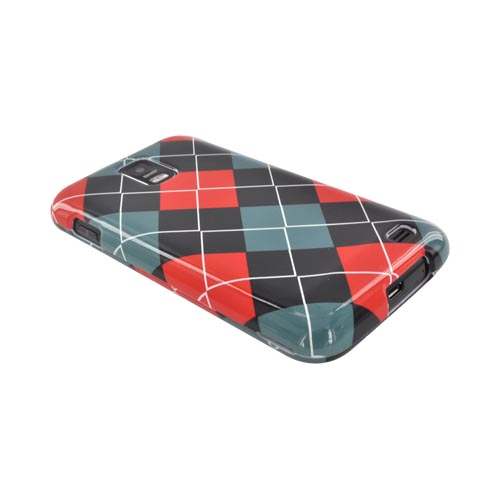 Samsung Galaxy S2 Skyrocket Hard Case - Red/ Black/ Gray Argyle