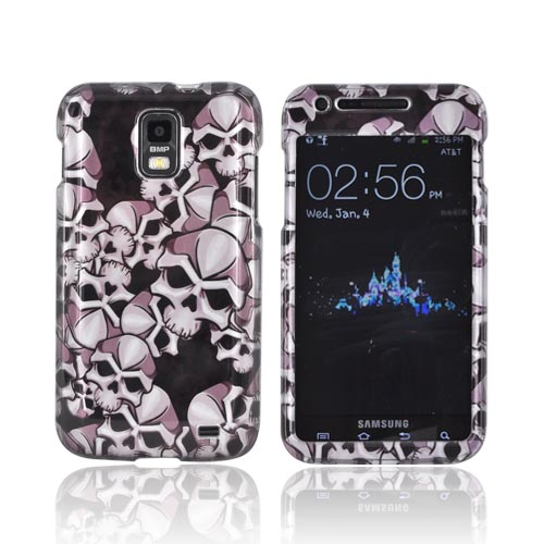 Samsung Galaxy S2 Skyrocket Hard Case - Silver Skulls on Black
