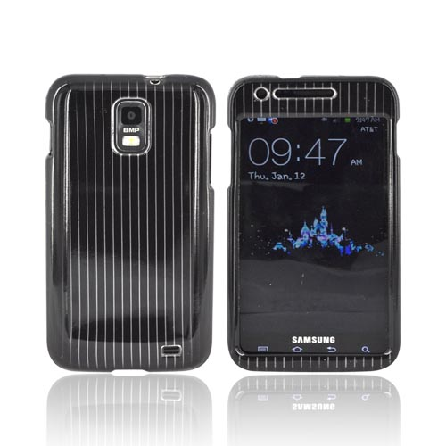 Samsung Galaxy S2 Skyrocket Hard Case - Silver Lines on Black