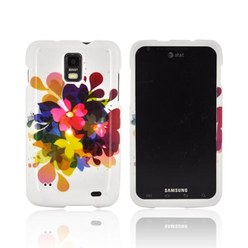 Samsung Galaxy S2 Skyrocket Hard Case - Colorful Water Flowers on White