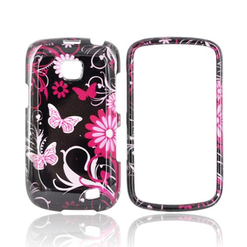 Samsung Illusion i110 Hard Case - Pink Flowers & Butterflies on Black