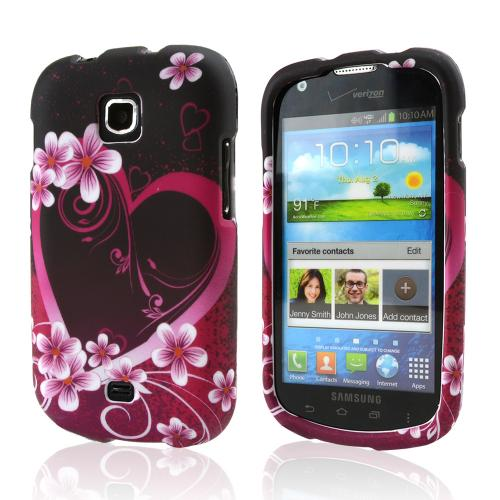 Hot Pink/ Purple Flowers & Heart Hard Case for Samsung Galaxy Stellar