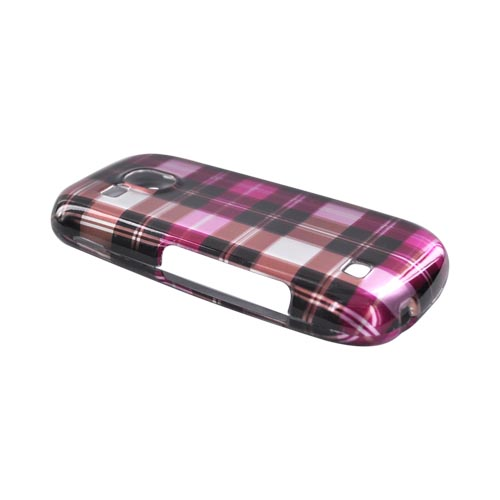 Luxmo Samsung Continuum i400 Hard Case - Plaid Pattern of Hot Pink, Brown, Pink, Silver