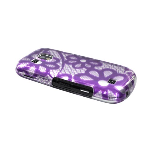 Samsung Continuum i400 Hard Case - Purple Floral Lace on Silver