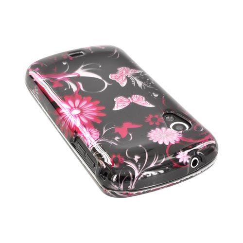 Samsung Stratosphere i405 Hard Case - Pink Flowers & Butterflies on Black