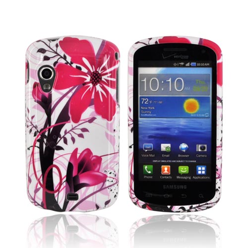 Samsung Stratosphere i405 Hard Case - Pink Flower Splash on White