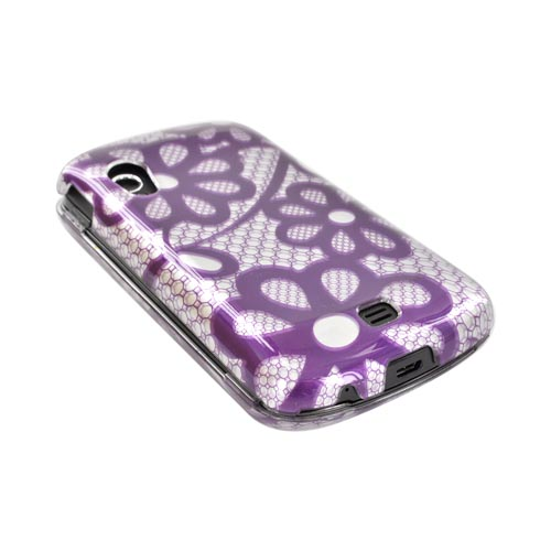 Samsung Stratosphere i405 Hard Case - Purple Lace Flowers on Silver