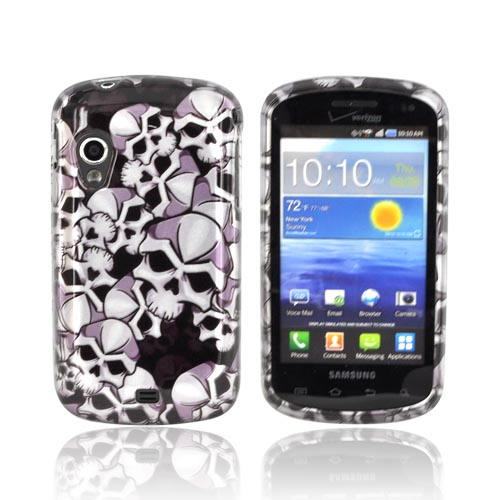 Samsung Stratosphere i405 Hard Case - Silver Skulls on Black