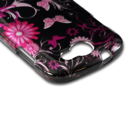 Pink Flowers & Butterflies on Black Hard Case for Samsung Galaxy Express