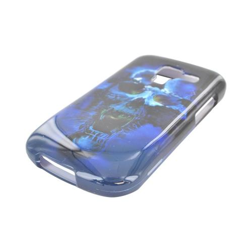 Samsung Exhilarate i577 Hard Case - Blue Skull