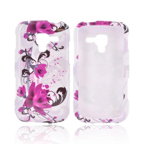 Samsung Exhilarate i577 Hard Case - Magenta Flowers & Black Vines on White