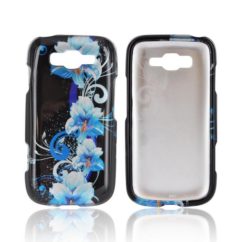 Samsung Focus 2 Hard Case - Blue Flowers on Black