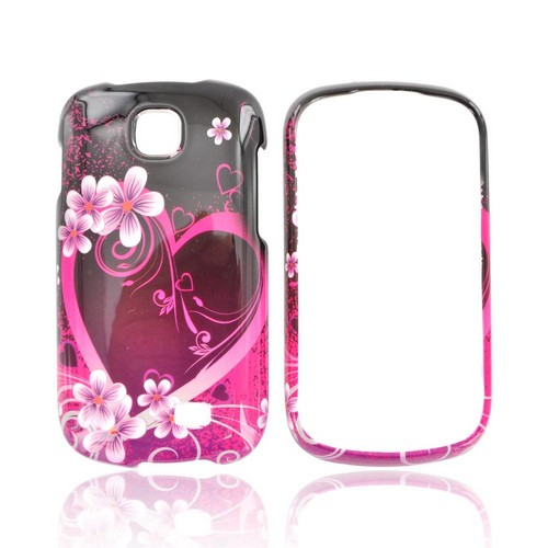 Samsung Galaxy Appeal Hard Case - Hot Pink/ Purple Flowers & Heart