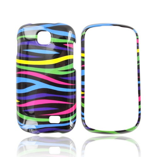 Samsung Galaxy Appeal Hard Case - Rainbow Zebra on Black