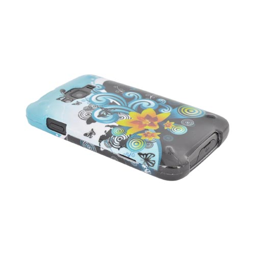 Samsung Rugby Smart i847 Hard Case - Yellow Lily w/ Swirls on Turquoise/ Black