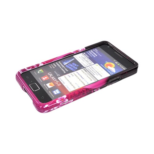 AT&T Samsung Galaxy S2 Hard Case - Hot Pink/ Purple Flowers & Hearts