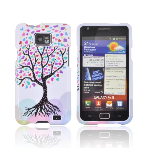 AT&T Samsung Galaxy S2 Hard Case - Black Tree w/ Multi-Colored Hearts on White