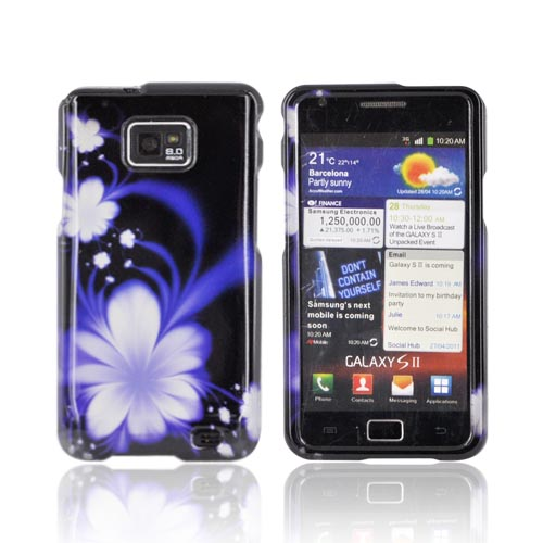 AT&T Samsung Galaxy S2 Hard Case - Purple Flowers on Black