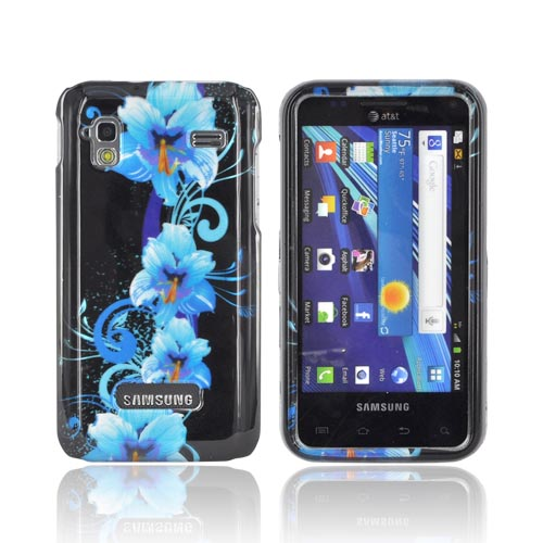 Samsung Captivate Glide i927 Hard Case - Blue Flowers on Black
