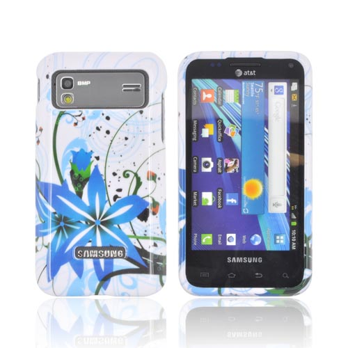 Samsung Captivate Glide i927 Hard Case - Blue Flower Splash on White