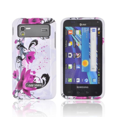 Samsung Captivate Glide i927 Hard Case - Pink Flowers on White