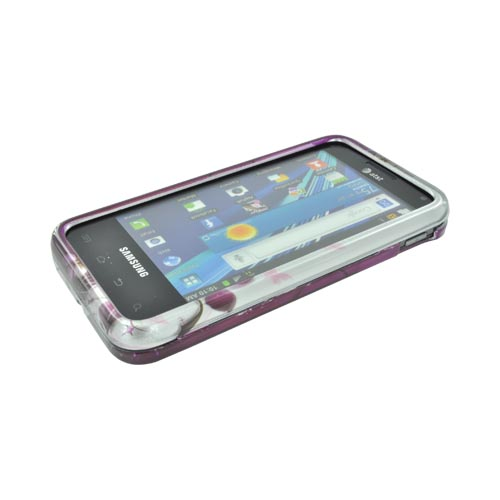 Samsung Captivate Glide i927 Hard Case - White Flowers on Pink/ Silver
