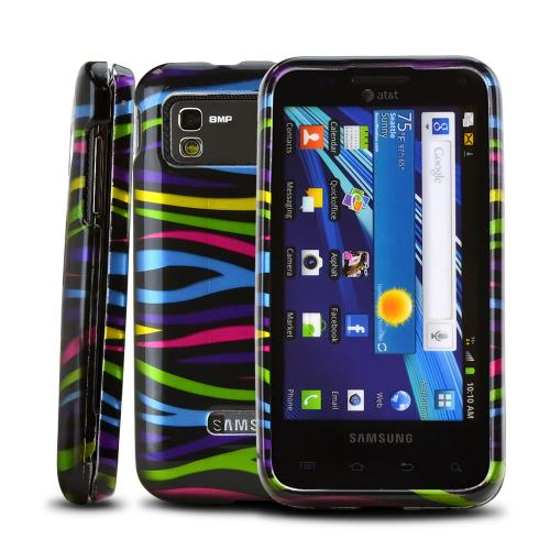 Samsung Captivate Glide i927 Hard Case - Rainbow Zebra on White