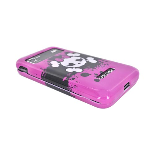 Samsung Captivate Glide i927 Hard Case - White Skull w/ Bow on Hot Pink
