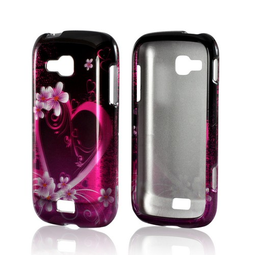 Hot Pink/ Purple Flowers & Heart Hard Case for Samsung ATIV Odyssey