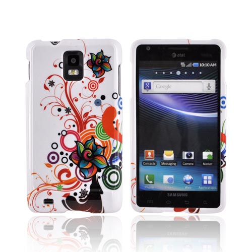 Samsung Infuse i997 Hard Case - Colorful Flowers/ Swirls on White