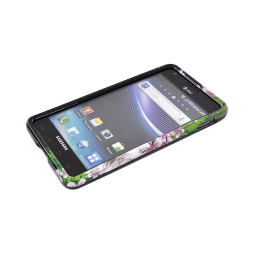 Samsung Infuse i997 Hard Case - White/ Green Flower on Black