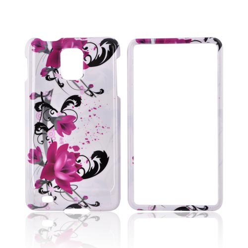 Samsung Infuse i997 Hard Case - Pink Flowers/ Black Vines on White