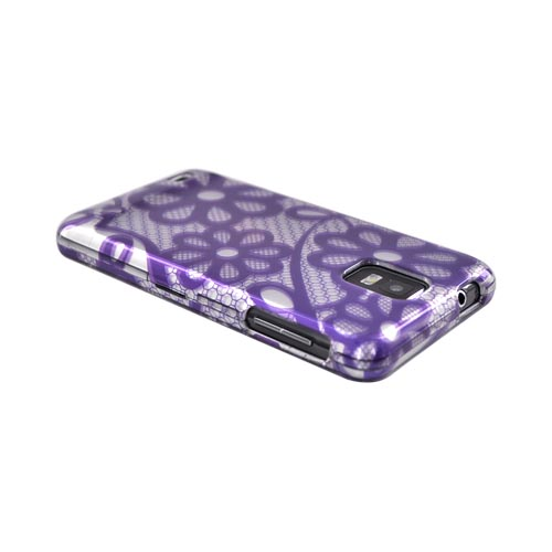 Samsung Infuse i997 Hard Case - Purple Lace Flowers on Silver
