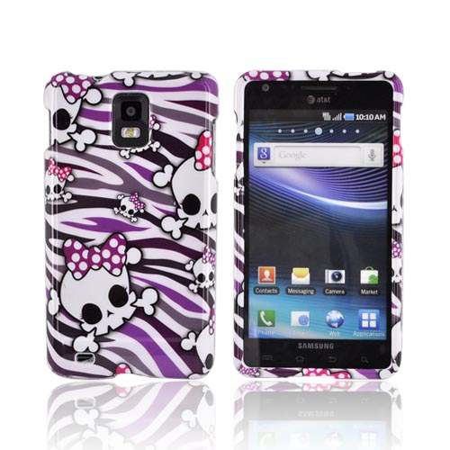 Samsung Infuse i997 Hard Case - White Skulls on Purple/ White Zebra