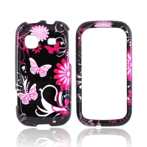 Samsung Trender M380 Hard Case - Pink Flowers & Butterflies on Black